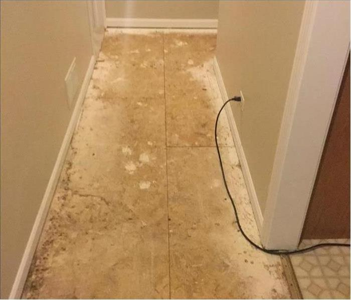 Hallway with dried floors and carpet removed