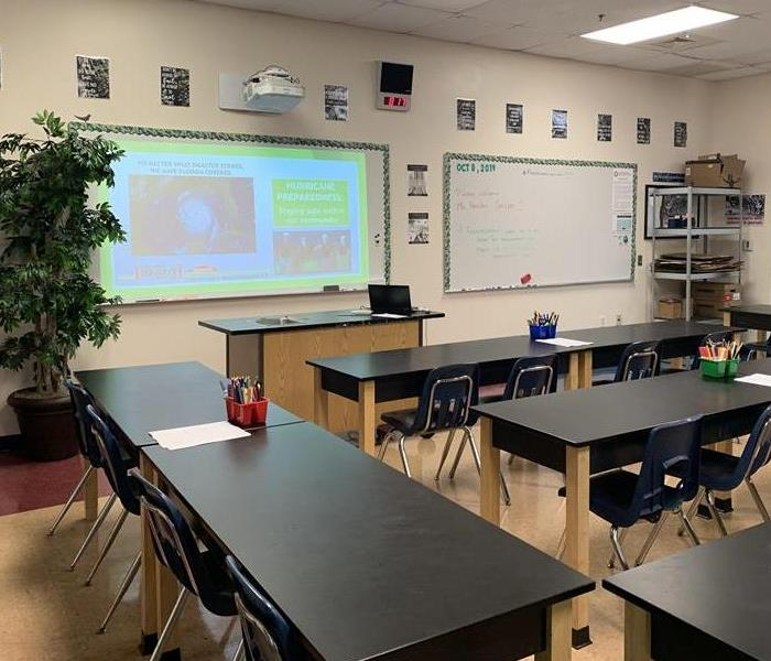 Classroom with a projector on a whiteboard.