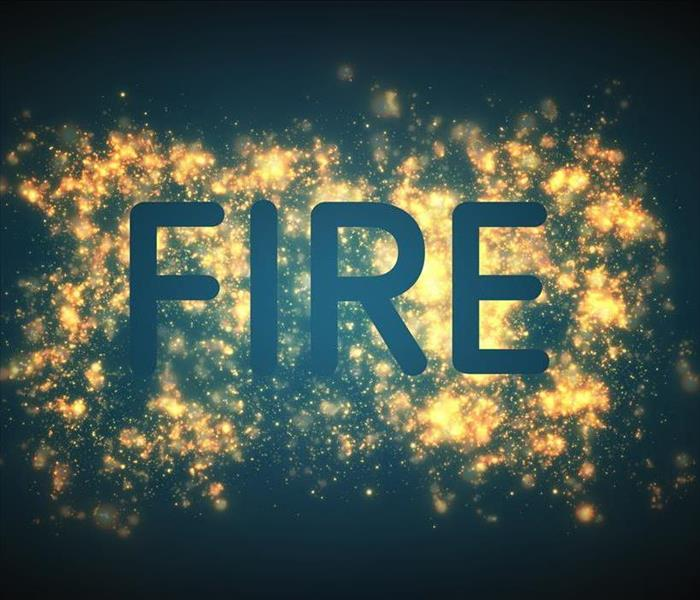 Letter FIRE superimposed upon a Fire-Like Graphic background