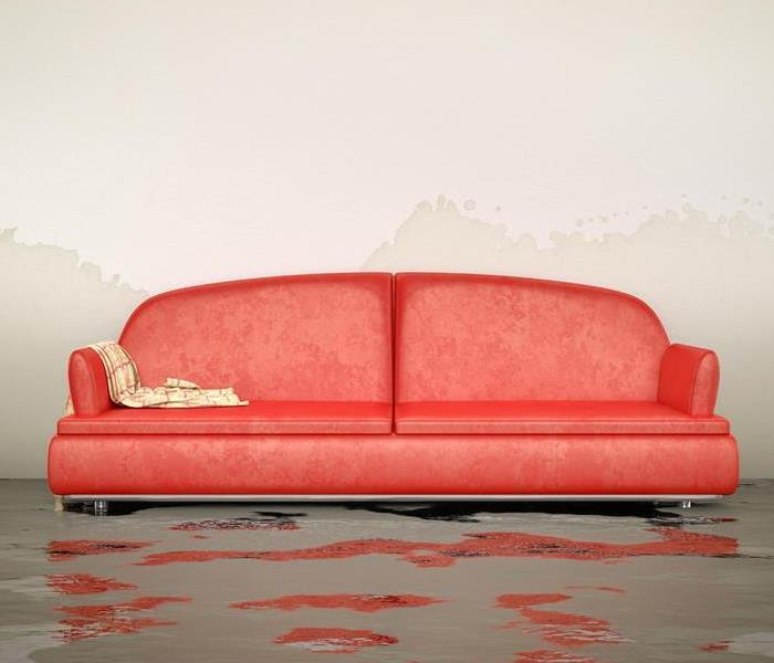 Red couch with water on the floor under the couch.